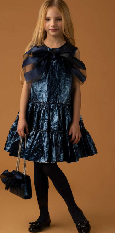 Blue Metallic Party Dress by Pamilla