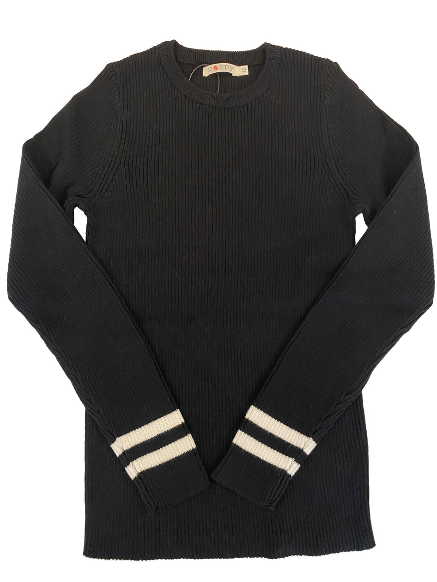 Black White Contrast Stripe Rib Knit Sweater by Poppy