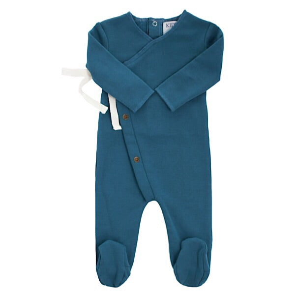 Blue Button Wrap Footie by Kipp
