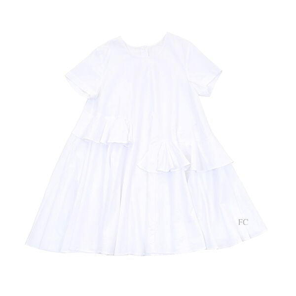 White Ruffles Dress by JNBY
