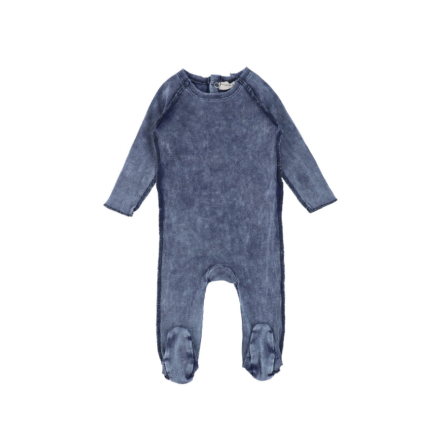 Blue Wash Denim Footie by Lil Leggs