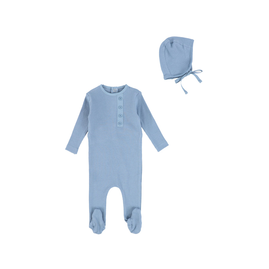 Mist Blue Button Footie by Bee and Dee