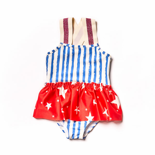 Blue Stripes Swim Suit by Noe & Zoe