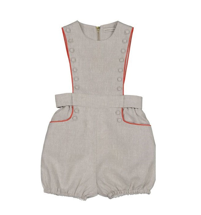 Pocket And Button Detail Romper by Carbon Soldier