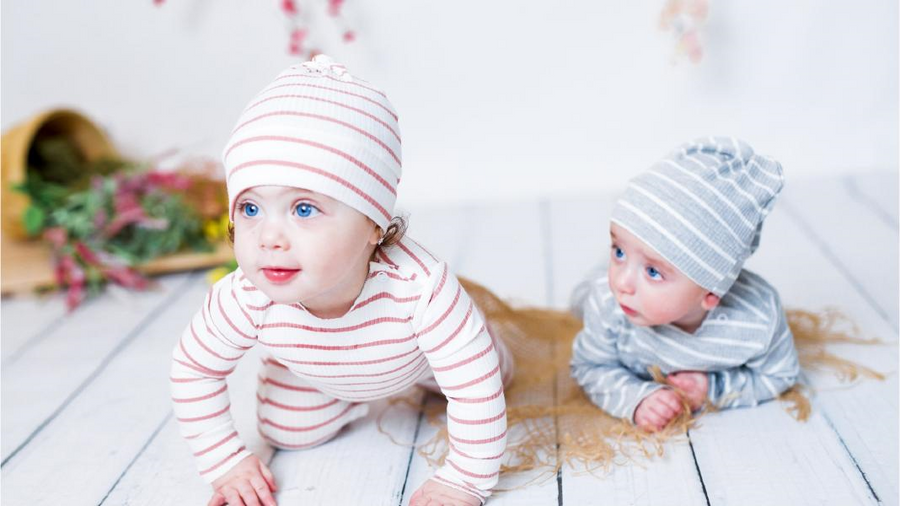 Grey and White Striped Onesie and Hat by Hatch'd