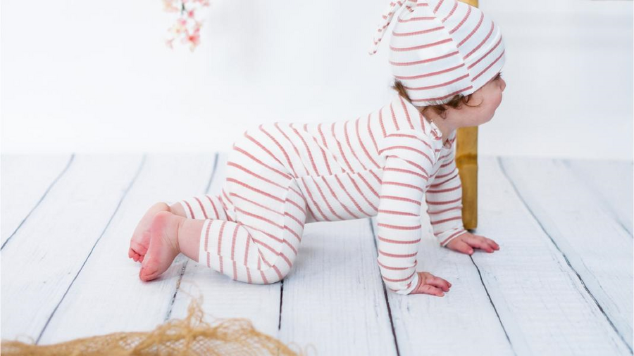 Mauve and White Striped Onesie and Hat by Hatch'd