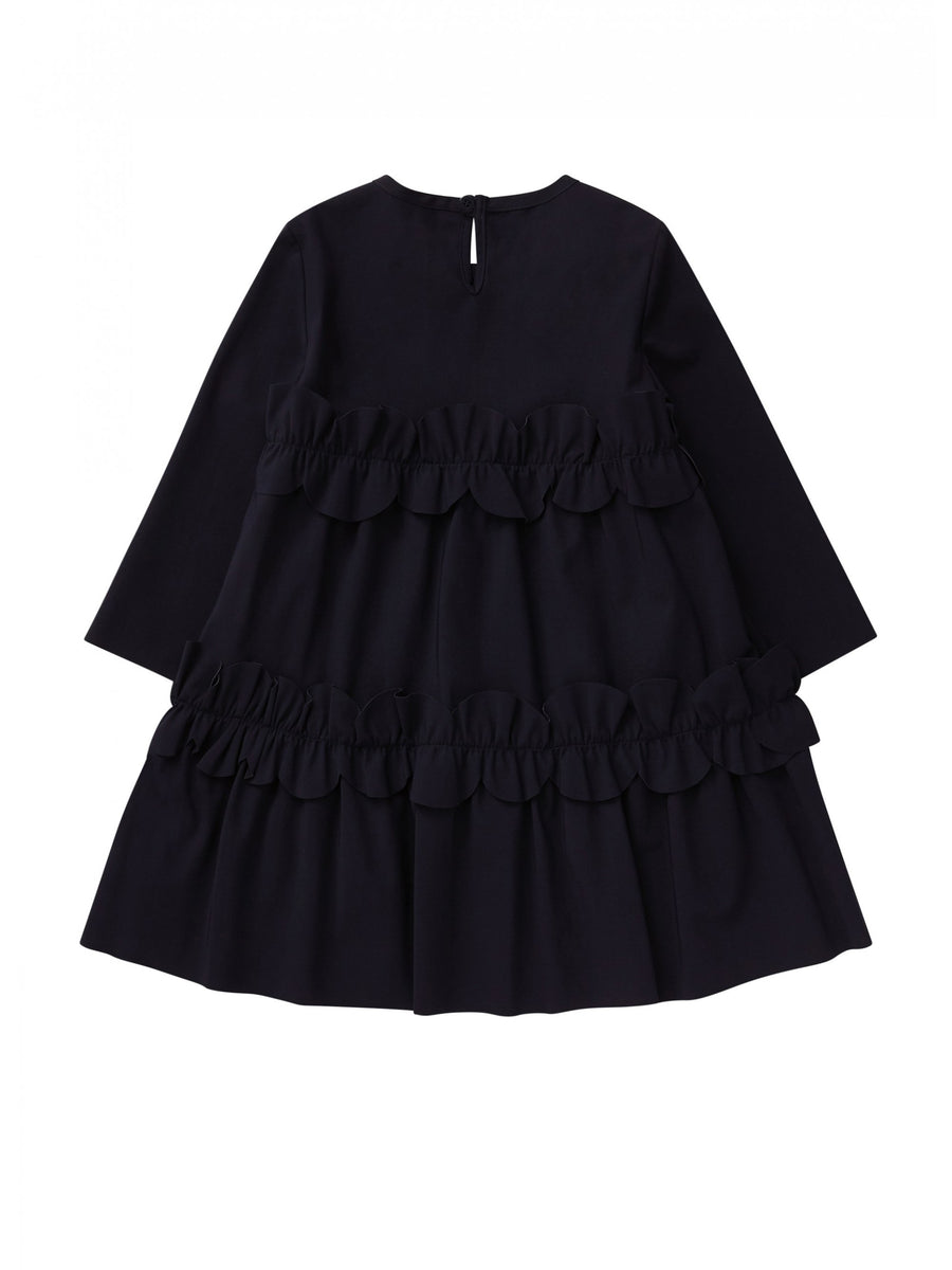 Navy Tiered Dress with Ruffles by Il Gufo