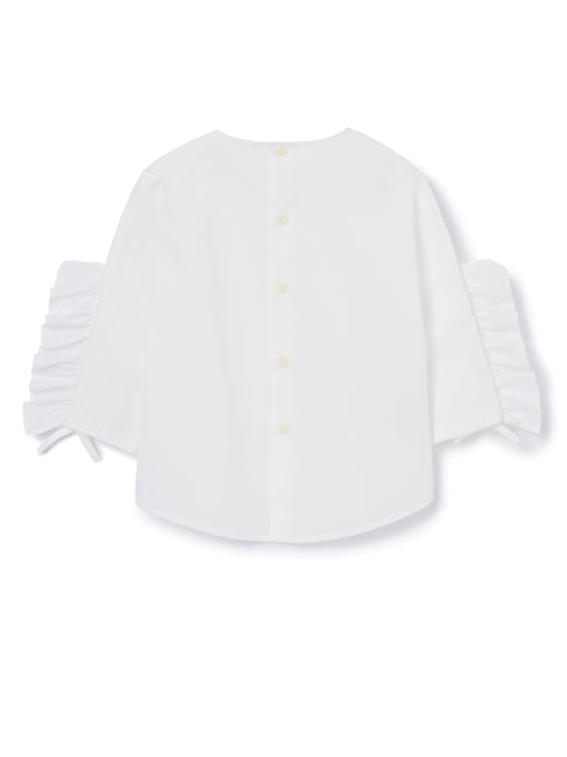 Il Gufo White 3/4 Sleeve Top with Ruffle