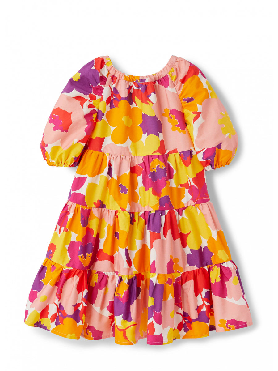 Floral Print Tiered Dress by Il Gufo