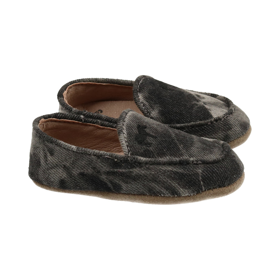 Tie Dye Black Denim Loafers by Zeebra
