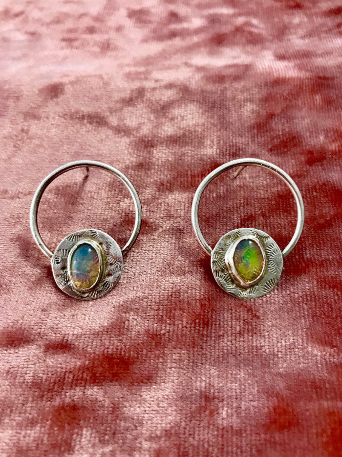 Opal Door Knocker Earrings