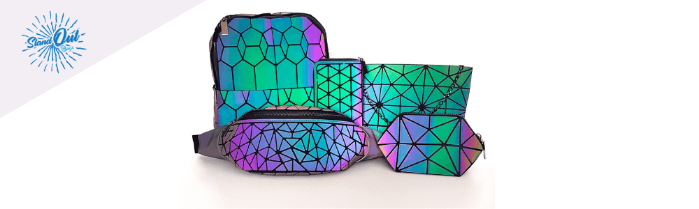 Geometric Luminous Backpack Holographic Backpack Purse Fanny Pack - Stand Out Bags