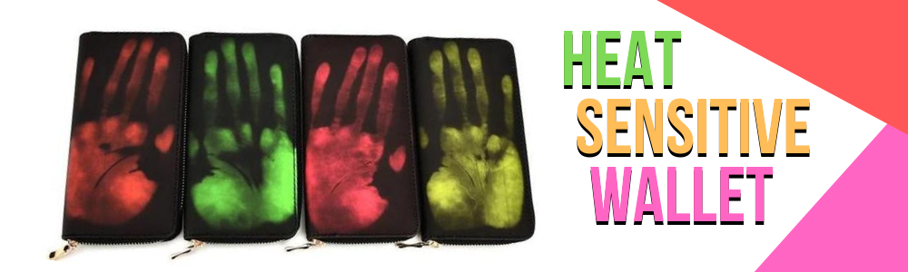 Thermal Heat Sensitive Wallet Color Changing Wallet Orange Green Pink Yellow