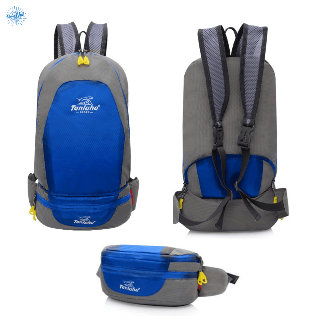 Packable Backpack Tanluhu Duo Daypack Foldable - Blue - Stand Out Bags
