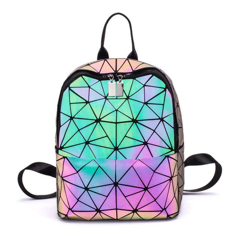 Geometric Luminous Backpack - Holographic Backpack