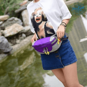 Girl wearing purple Foldable Backpack Tanluhu Duo Daypack as fanny pack