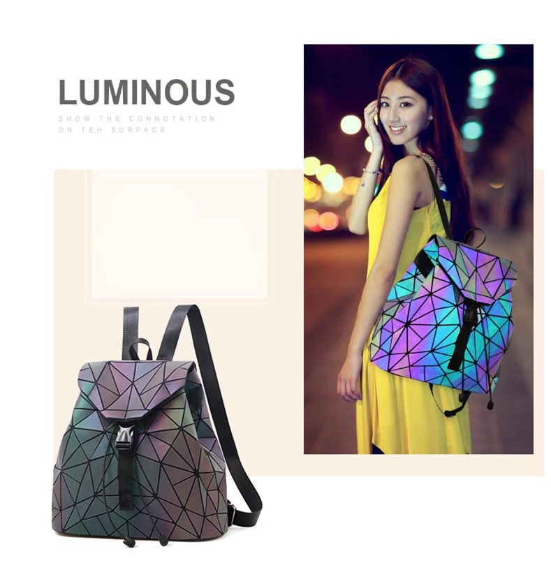 Holographic effect on Luminous Backpack - Geometric Backpack for women