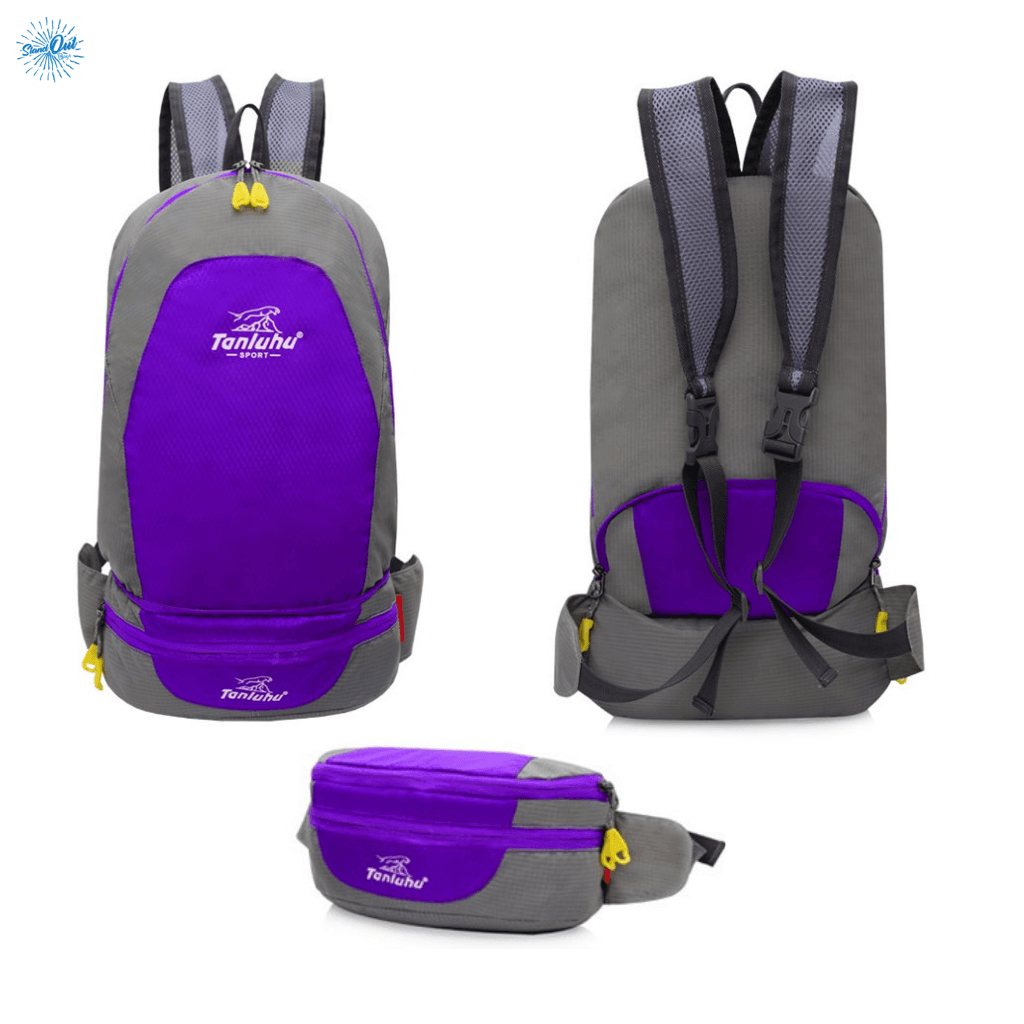 Packable Backpack Tanluhu Duo Daypack Foldable - Purple - Stand Out Bags