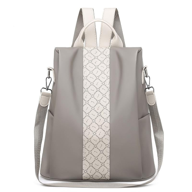 Womens Grey Anti Theft Backpack Purse - Pickpocket proof purse