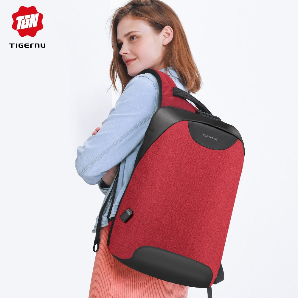 Girl wearing red Lockable Backpack Anti Theft Backpack For Women Pickpocket Proof