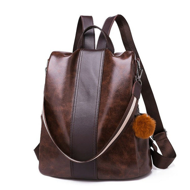 Faux Leather Anti Theft Backpack Purse - Pickpocket Proof Safe backpack purse brown