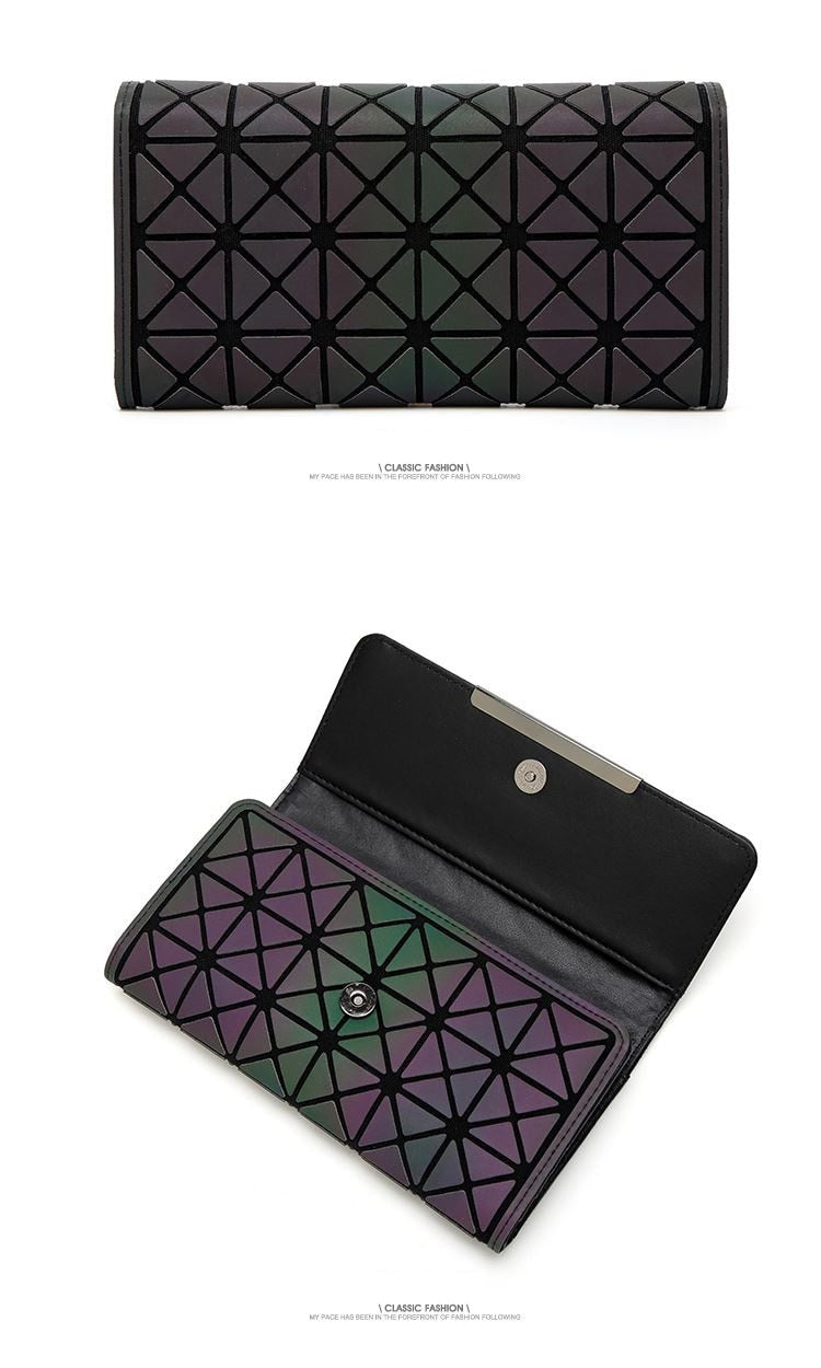 Size of Trifold Luminous Wallet - from Geometric Luminous Bags