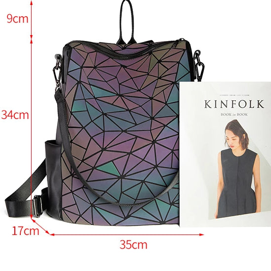 Holographic Luminous Backpack v3 - Geometric Backpack size