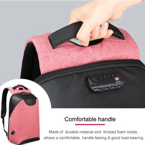Soft handle on anti pickpocket backpack for women