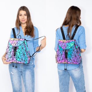 Women wearing Reflective Luminous Backpack