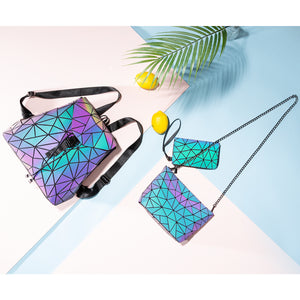 Geometric Luminous Backpack Messenger Bag Wallet