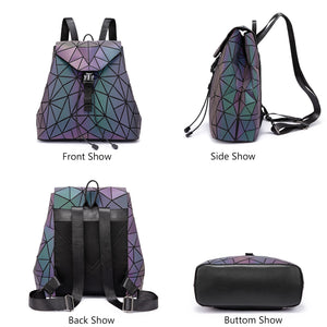 Reflective Geometric Luminous Backpack Shows