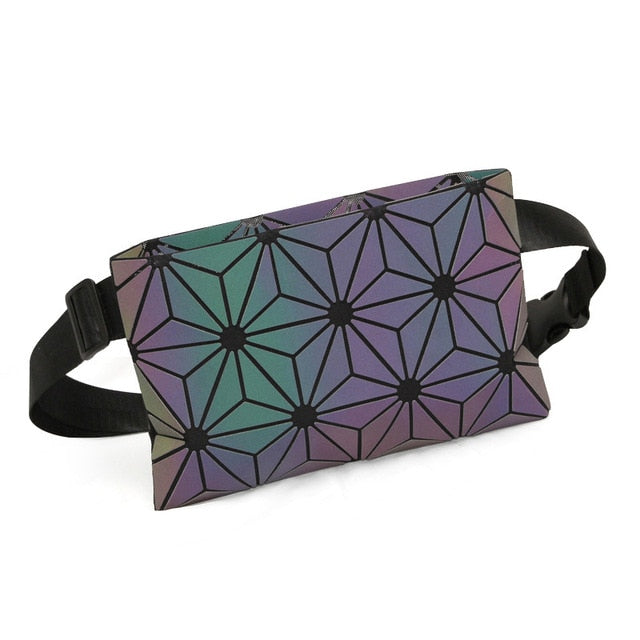 Reflective holographic luminous fanny pack