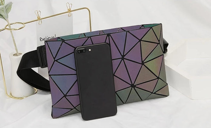 Geometric Luminous Holographic Fanny Pack Phone