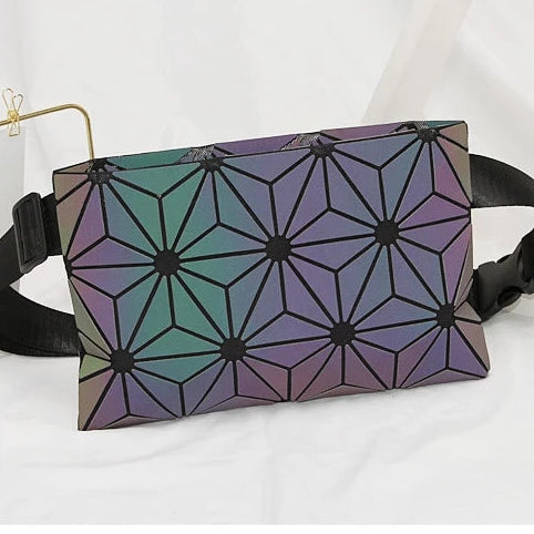 Holographic Luminous Fanny Pack Light Flowers
