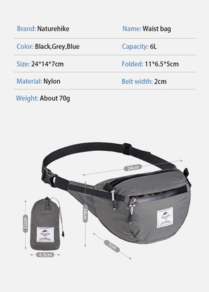 Naturehike Packable Fanny Pack - Foldable Bag - Size