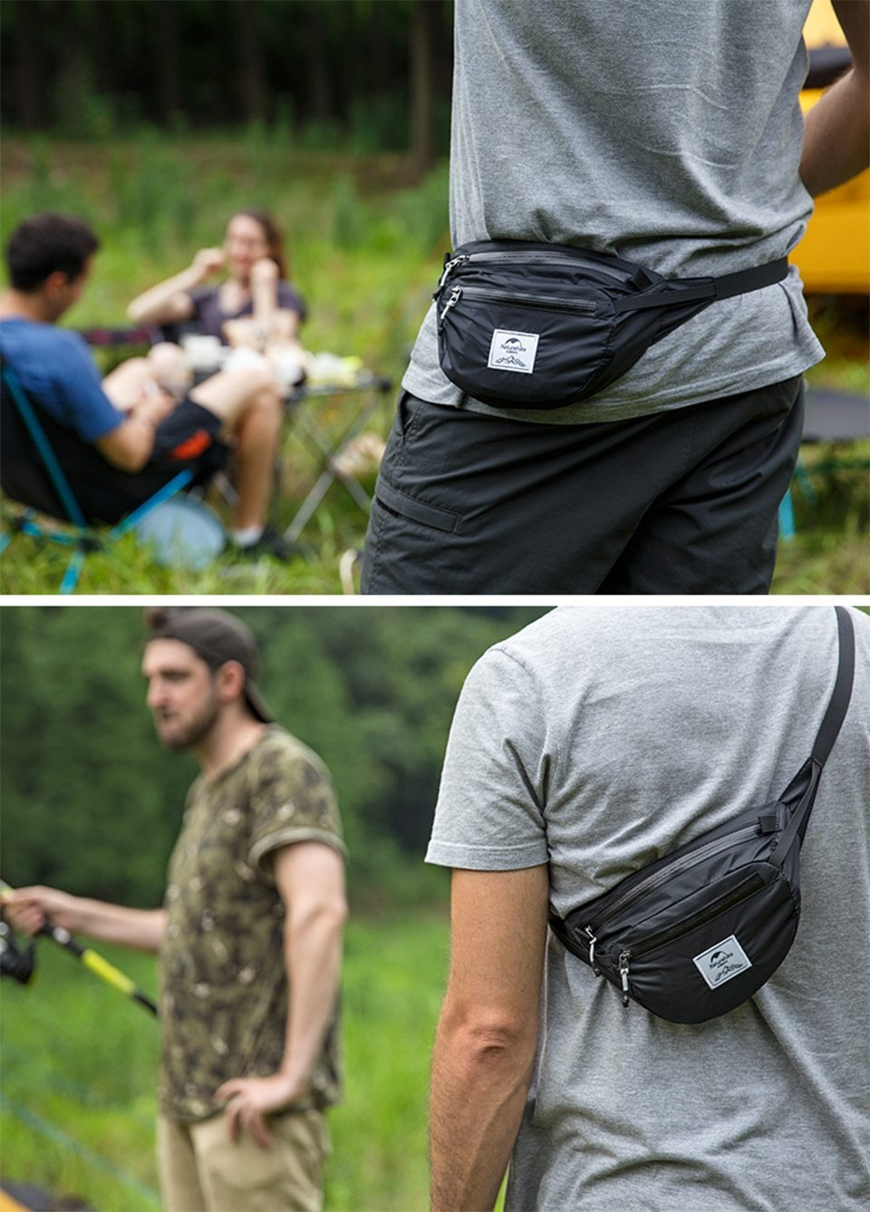 Man wearing a Naturehike Packable Fanny Pack - Foldable Bag