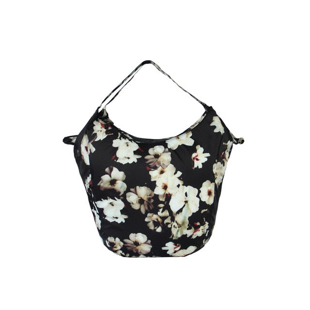 Black white Floral Packable Tote Bag - 20L - Foldable bags