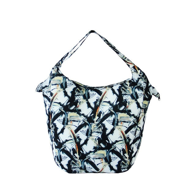 black white pattern Floral Packable Tote Bag - 20L - Foldable bags