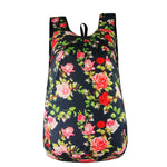floral black red Packable Backpack - Foldable daypack