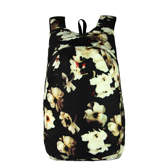 floral black white Packable Backpack - Foldable daypack