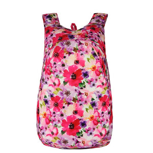 Floral Pink Red Packable Backpack - Foldable Daypack