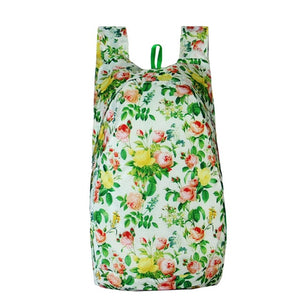 Floral White Packable Backpack - Foldable daypack