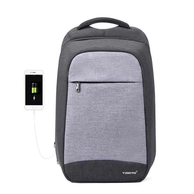 Black Women's Anti Theft Backpack with USB Charging Port