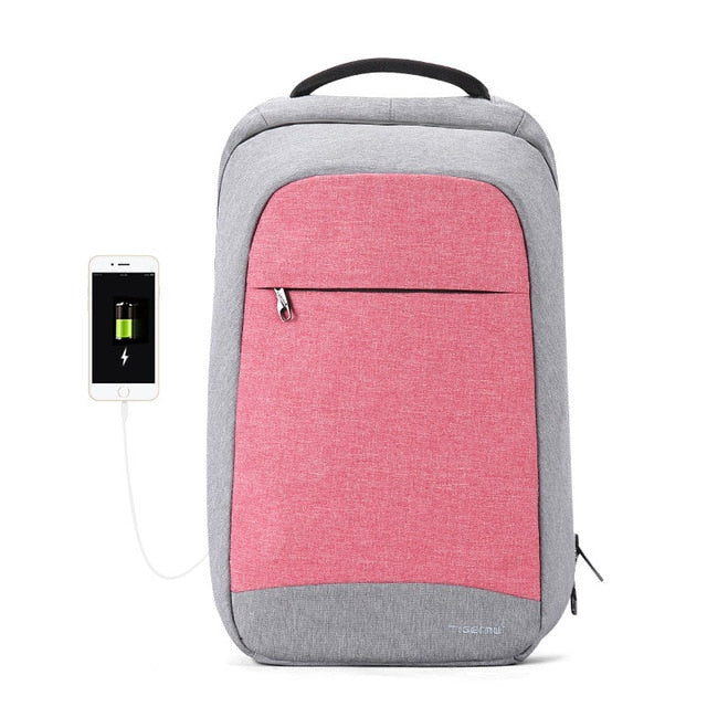 Pink Women's Anti Theft Backpack with USB Charging Port