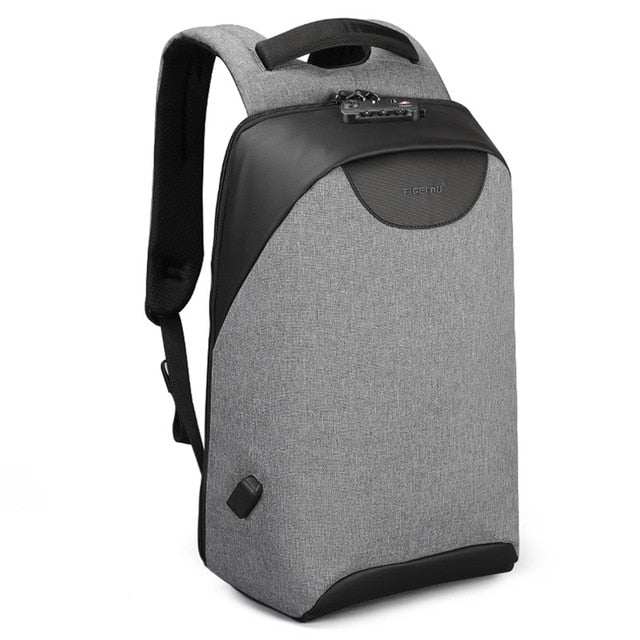 Grey Lockable Backpack Anti Theft Backpack For Women Pickpocket Proof