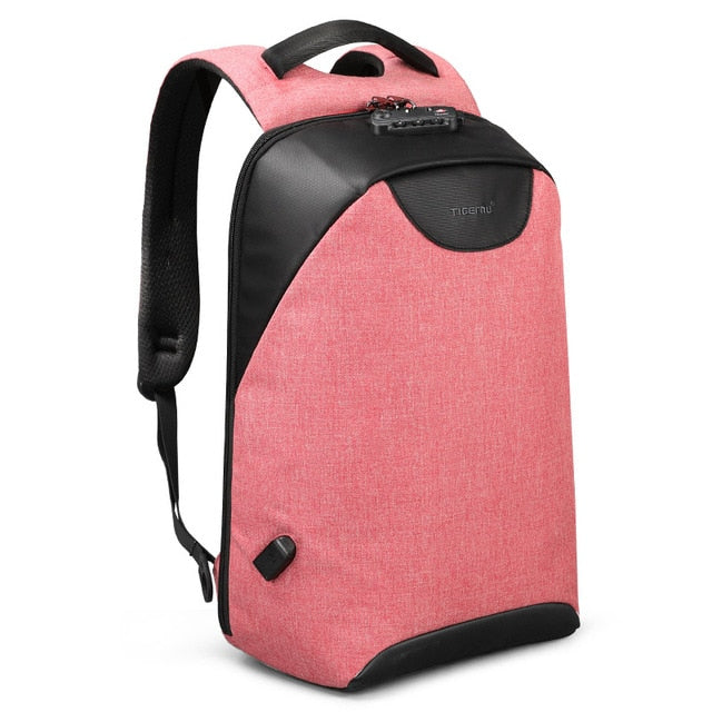 Pink Lockable backpack Anti theft backpack for women pickpocket proof