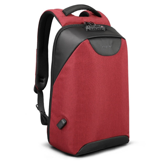 Red Lockable backpack Anti theft backpack for women pickpocket proof