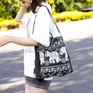 Female wearing Anti Theft  Elephant Backpack Purse