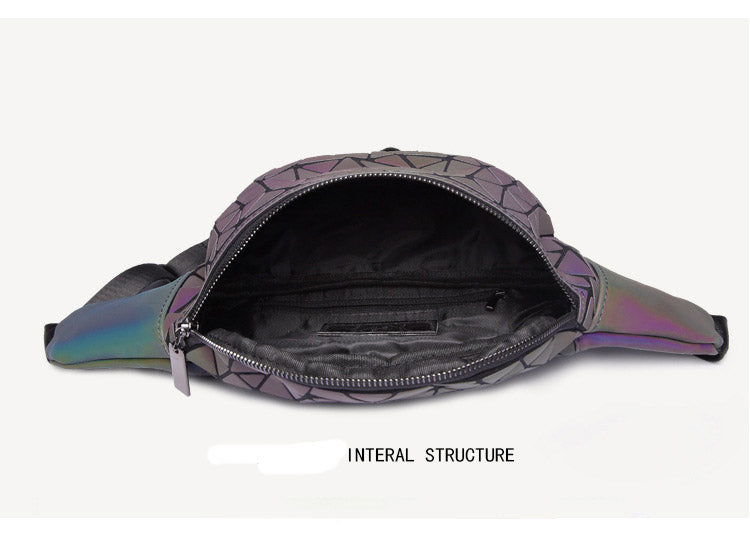 Inside of Geometric Waist Bag Luminous Fanny Pack -  Stand Out Bags