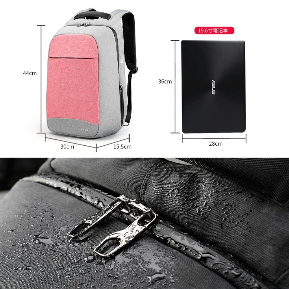 Size Laptop Pink  Anti Theft Backpack with USB Charging Port